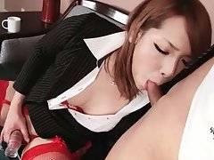 Slutty Japanese tranny sits down on lover`s boner.