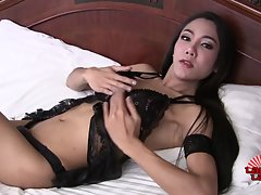 Beautiful Nat (who also goes by Donut) is a stunning Pattaya ladyboy with a sexy slim body, a firm slim ass and a hard cock! Watch this gorgeous tgirl masturbatinga and cumming!